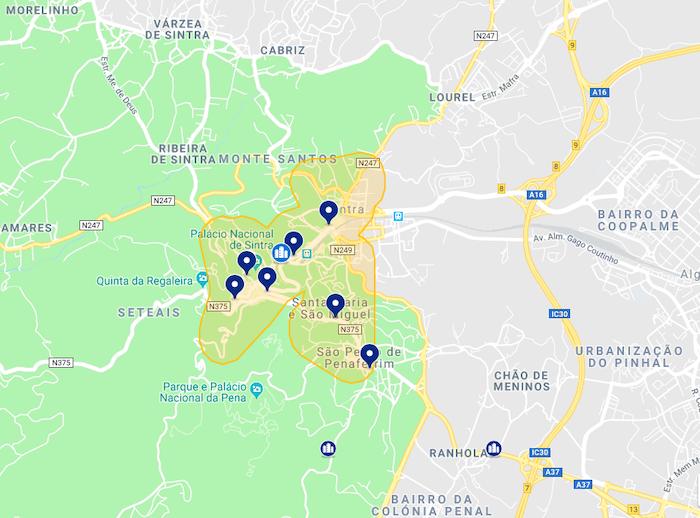 Mapa de onde ficar em Sintra - centro