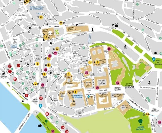 Mapa Turistico De Coimbra 2019 Dicas De Lisboa E Portugal