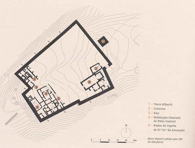 Planta do Castelo de Paderne em Albufeira
