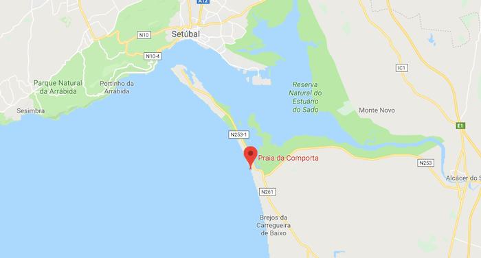 Mapa da Praia da Comporta em Setúbal