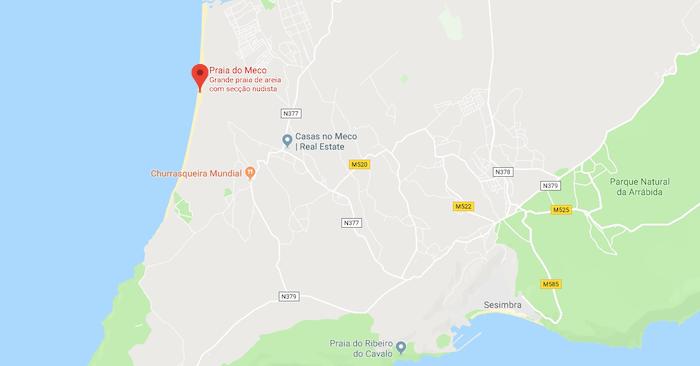 Mapa da Praia do Meco em Setúbal