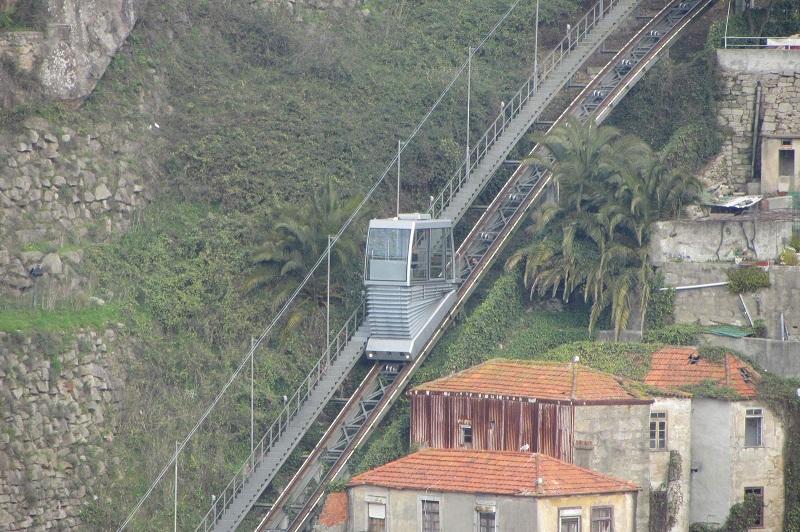 Funicular em caminho inclinado no Porto