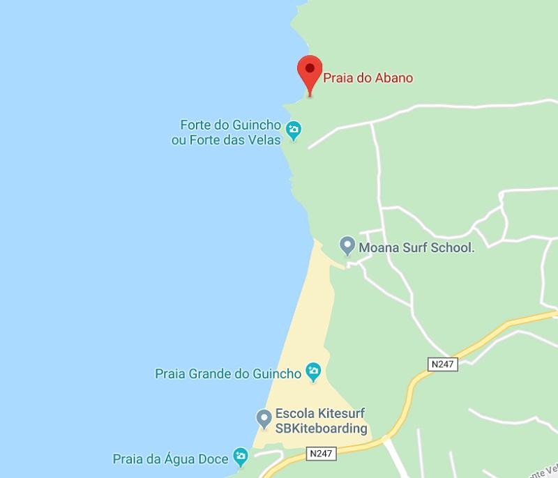 Mapa da Praia do Abano em Sintra