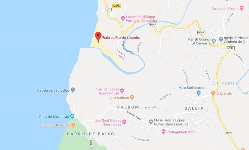 Mapa da Praia da Foz do Lizandro em Sintra