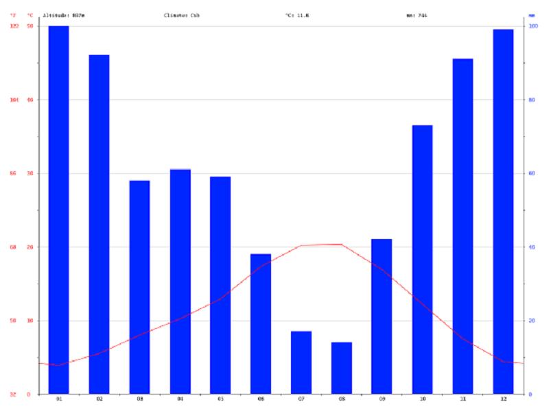 Gráfico do clima em Bragança durante o ano