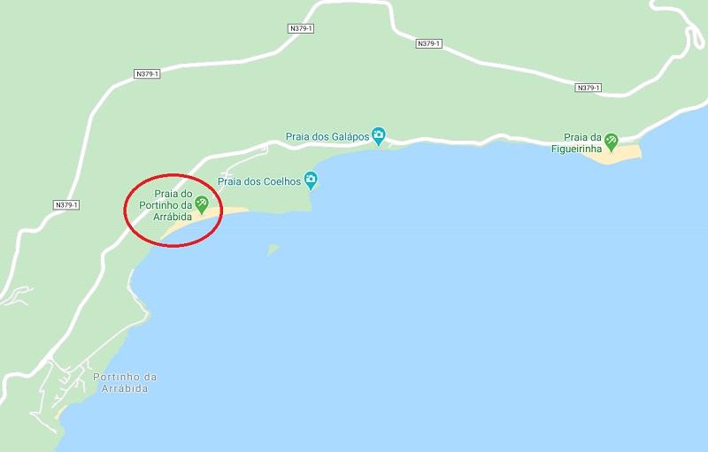 Mapa da praia Portinho da Arrábida em Setúbal