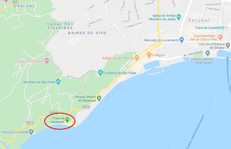 Mapa da praia de Albarquel em Setúbal